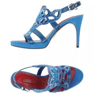 Cesare Paciotti Blue Suede Platform Sandals Sz 6.5